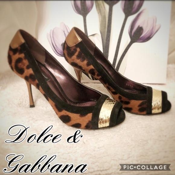 1e117acae165 Dolce & Gabbana Shoes - Dolce&Gabbana leopard print pony hair peep toe